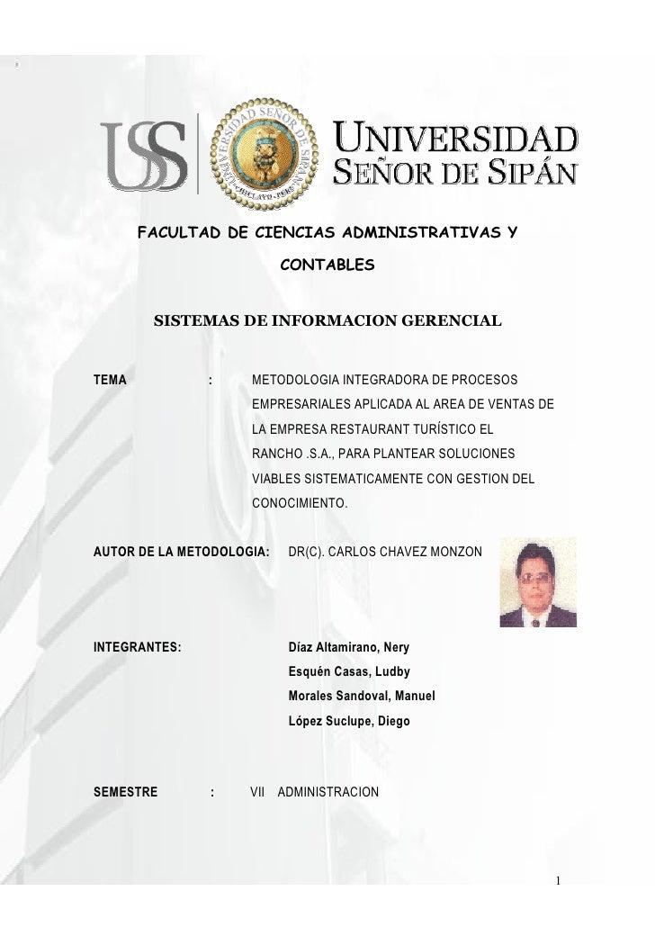 FACULTAD DE CIENCIAS ADMINISTRATIVAS Y                             CONTABLES           SISTEMAS DE INFORMACION GERENCIAL  ...