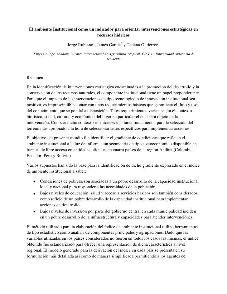 El ambiente Institucional como un indicador para orientar intervenciones estratégicas en recursos hídricos<br />Jorge Rubi...