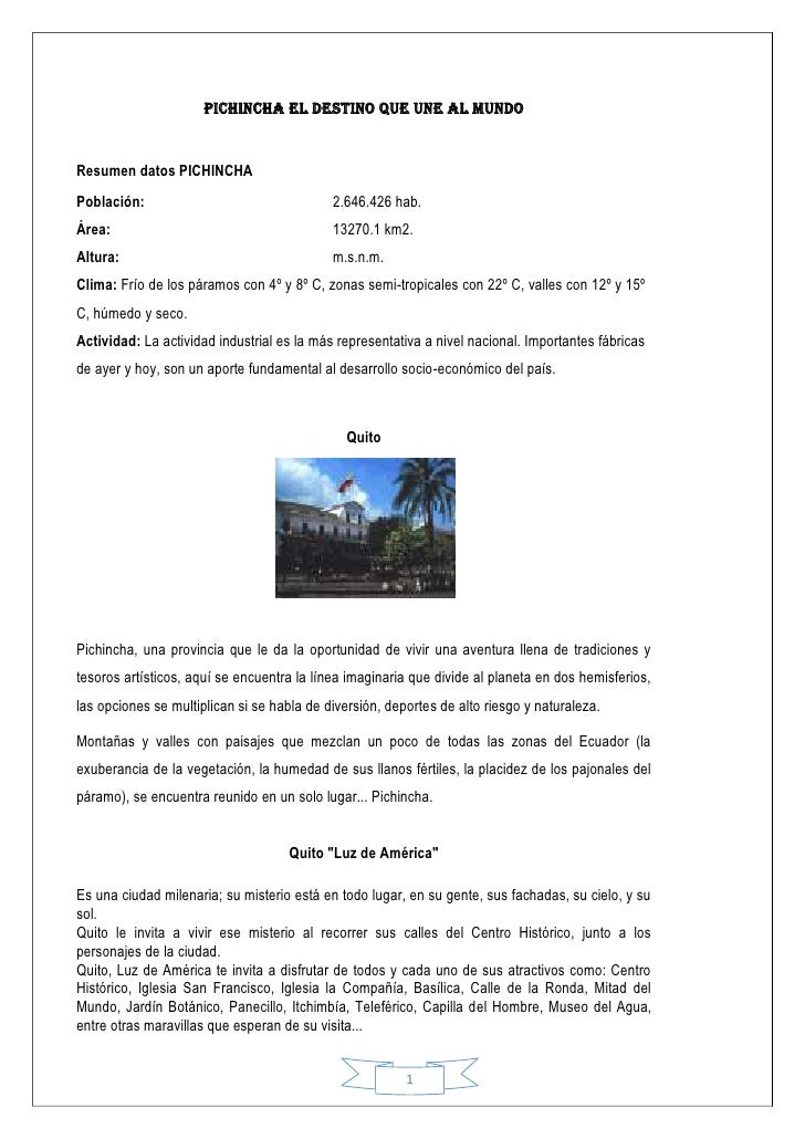 Turismo en Pichincha