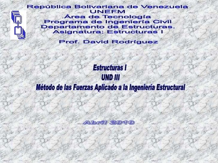 República Bolivariana de Venezuela<br />UNEFM<br />Área de Tecnología<br />Programa de Ingeniería Civil<br />Departamento ...