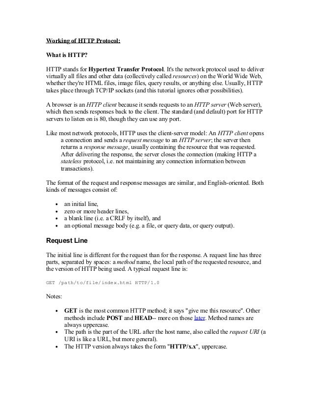 Working of HTTP Protocol: What is HTTP? HTTP stands for Hypertext Transfer Protocol. It's the network protocol used to del...