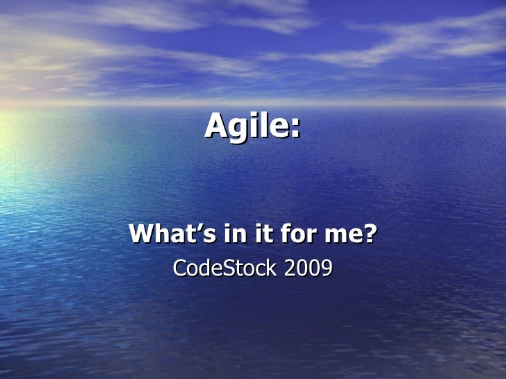 Agile:   What's in it for me?    CodeStock 2009