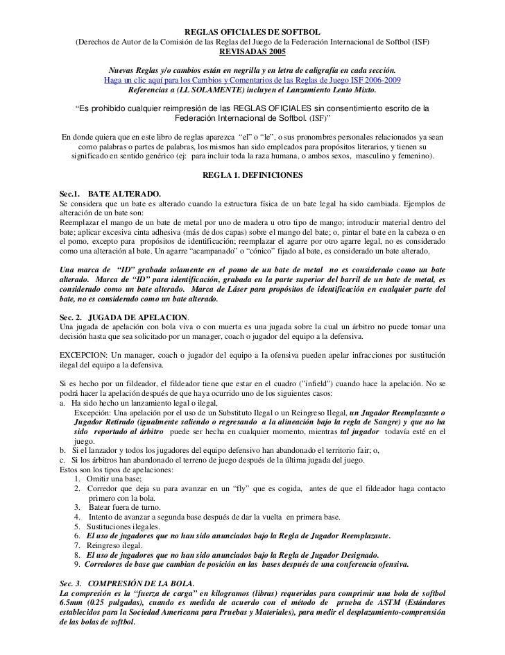 REGLAS OFICIALES DE SOFTBOL     (Derechos de Autor de la Comisión de las Reglas del Juego de la Federación Internacional d...