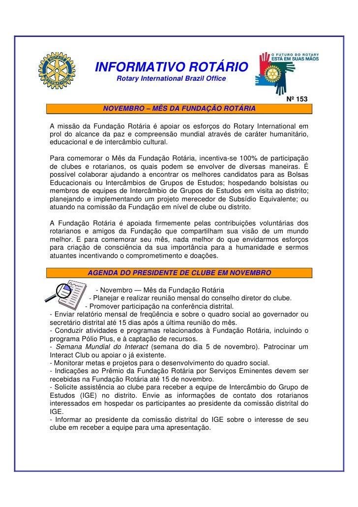 Informativo Rotário 153