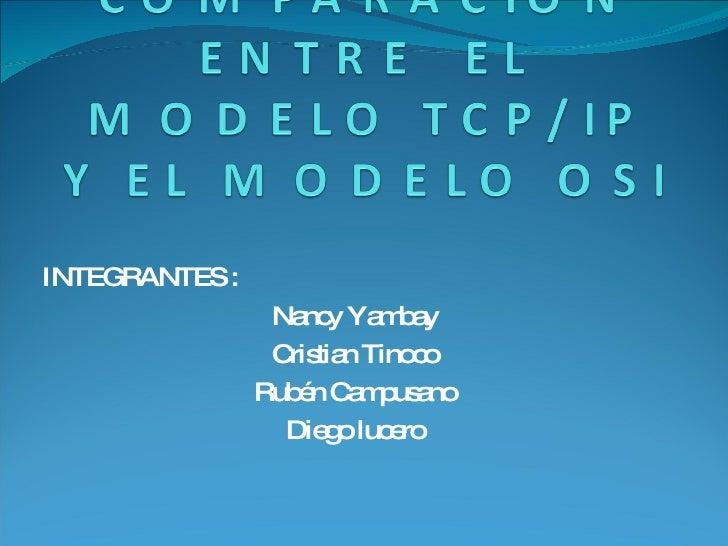 INTEGRANTES : Nancy Yambay Cristian Tinoco Rubén Campusano Diego lucero