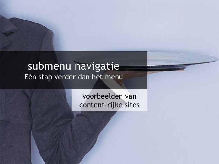 Voorbeelden van subnavigatie in contentrijke websites