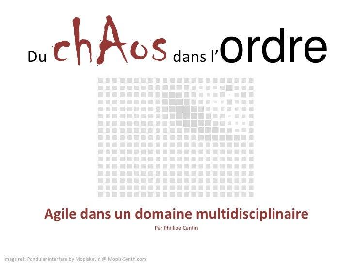 DuchAosdans l'ordre<br />Agile dans un domaine multidisciplinaire<br />Par Phillipe Cantin<br />Image ref: Pondular interf...