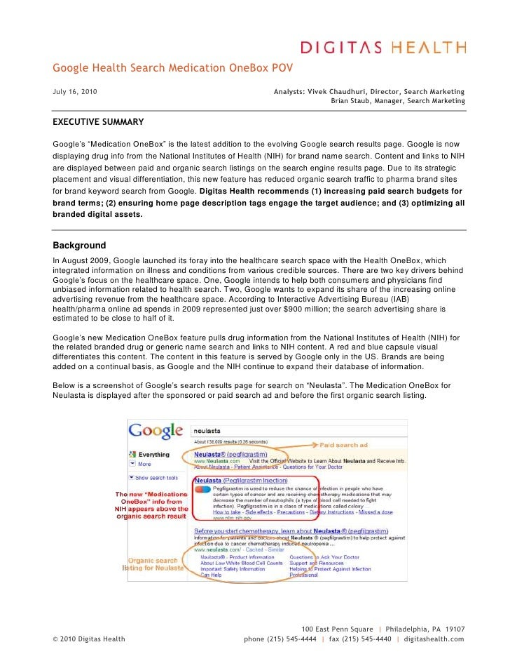 "Google Health Search Medication OneBox POV DATE @ "" MMMM d, yyyy""  July 16, 2010Analysts: Vivek Chaudhuri, Director, Searc..."