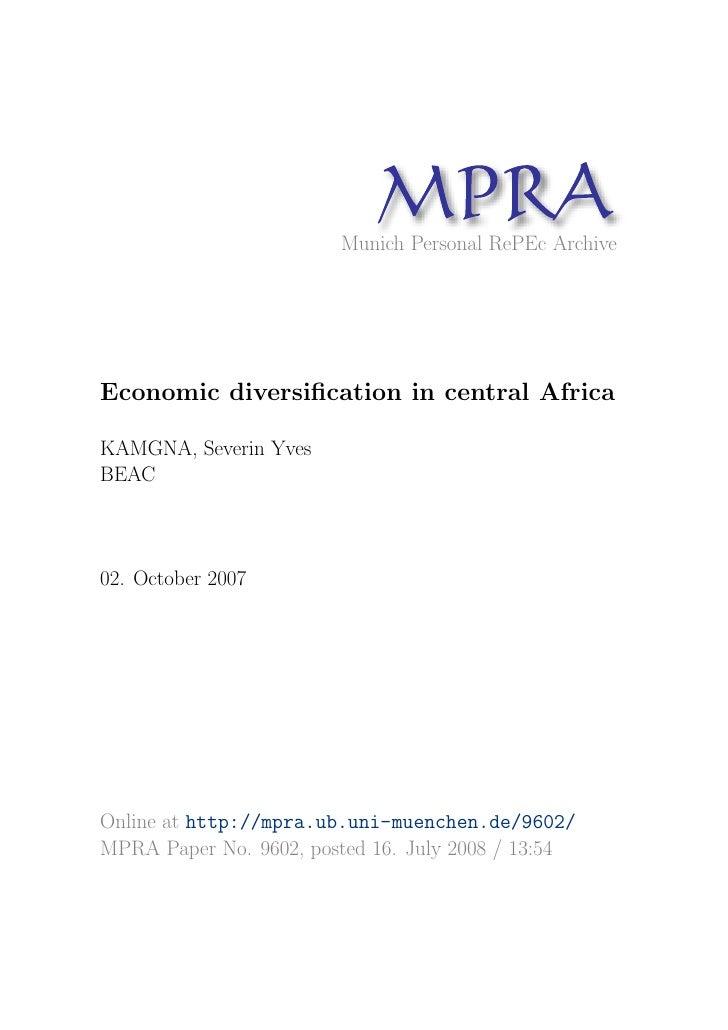 MP A                               R                         Munich Personal RePEc Archive     Economic diversification in ...
