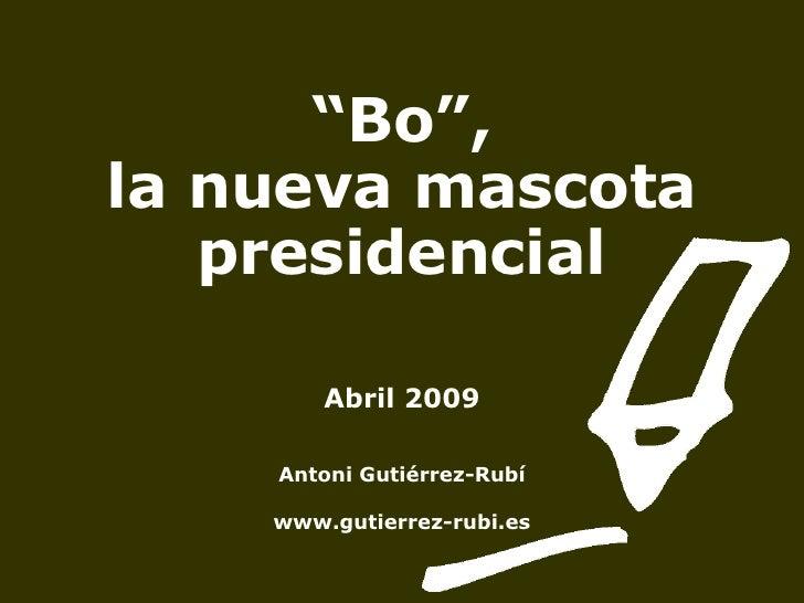 """"""" Bo"""",  la nueva mascota presidencial Abril 2009 Antoni Gutiérrez-Rubí www.gutierrez-rubi.es"""