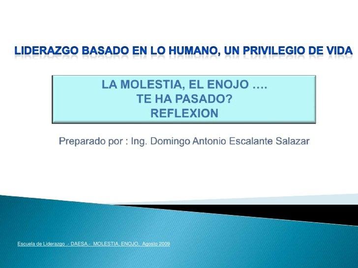 LIDERAZGO basado en lo humano, un privilegio de vida<br />LA MOLESTIA, EL ENOJO ….<br />TE HA PASADO?<br />REFLEXION<br />...