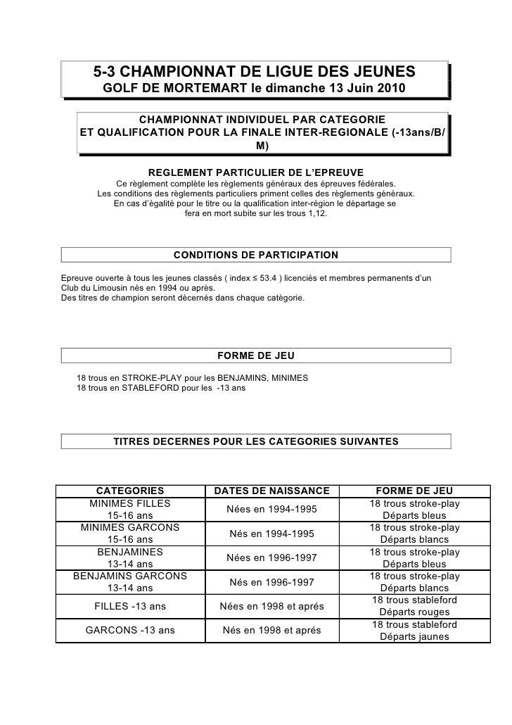 5-3 CHAMPIONNAT DE LIGUE DES JEUNES           GOLF DE MORTEMART le dimanche 13 Juin 2010               CHAMPIONNAT INDIVID...
