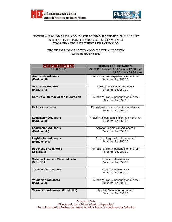 ESCUELA NACIONAL DE ADMINISTRACIÓN Y HACIENDA PÚBLICA IUT         DIRECCION DE POSTGRADO Y ADIESTRAMIENTO           COORDI...