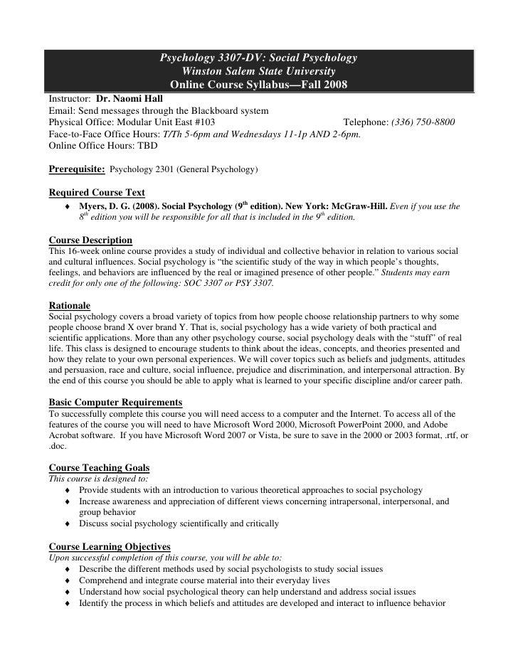 Psychology 3307-DV: Social Psychology                                   Winston Salem State University                    ...