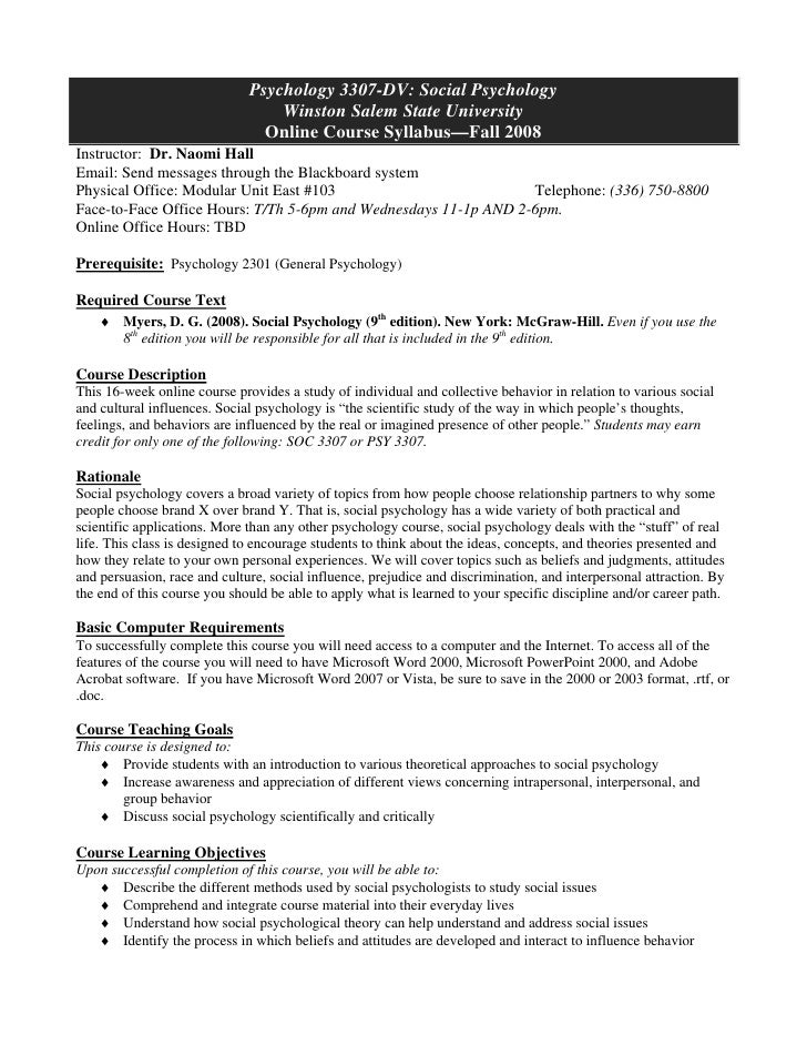 Benchmark 1: Course syllabus sample, Naomi's