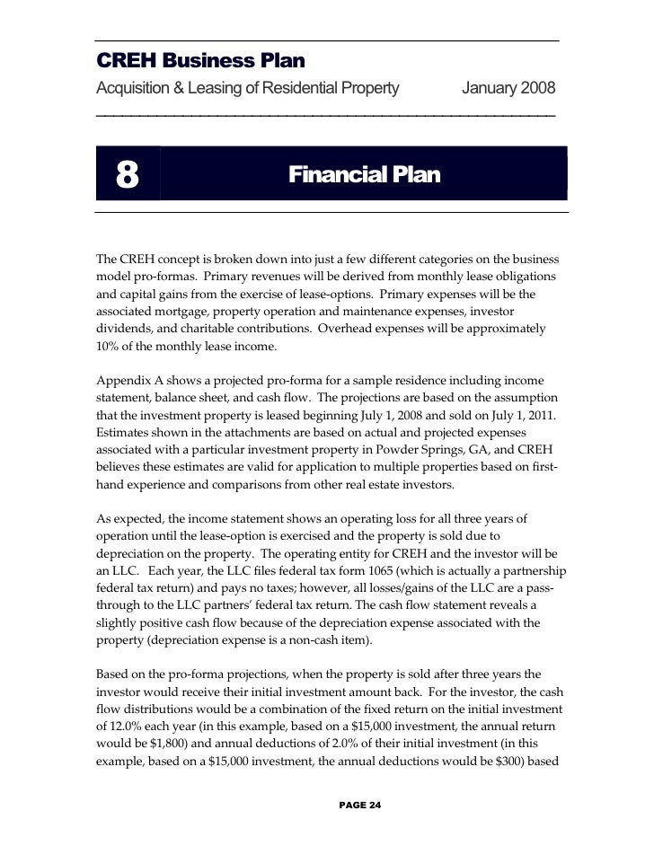how to write a business plan for property development