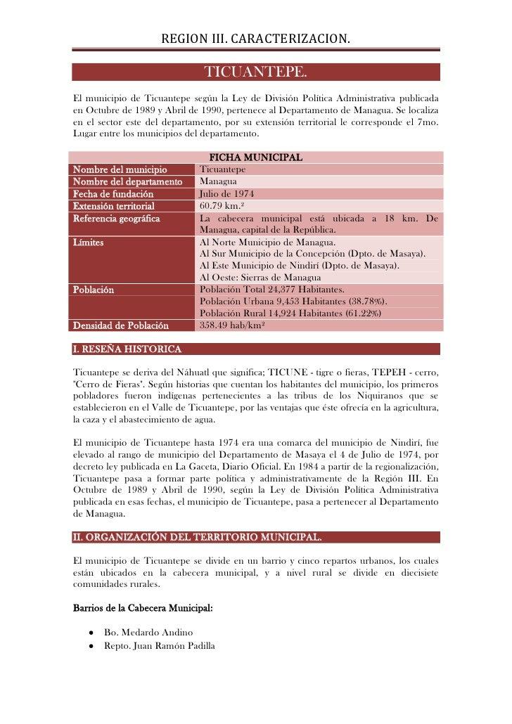 REGION III. Caracterizacion