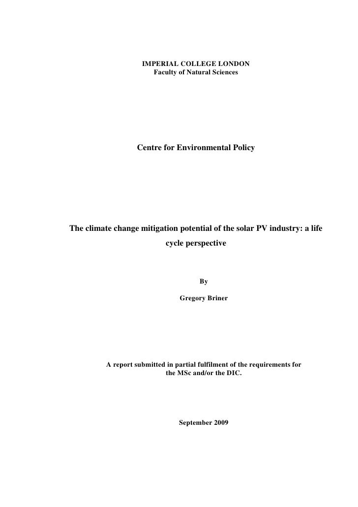 The Climate Change Mitigation Potential of the Solar PV Industry: A Life Cycle Perspective
