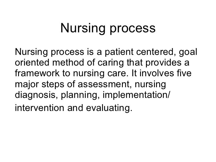 Nursing process Nursing process is a patient centered, goal oriented method of caring that provides a framework to nursing...