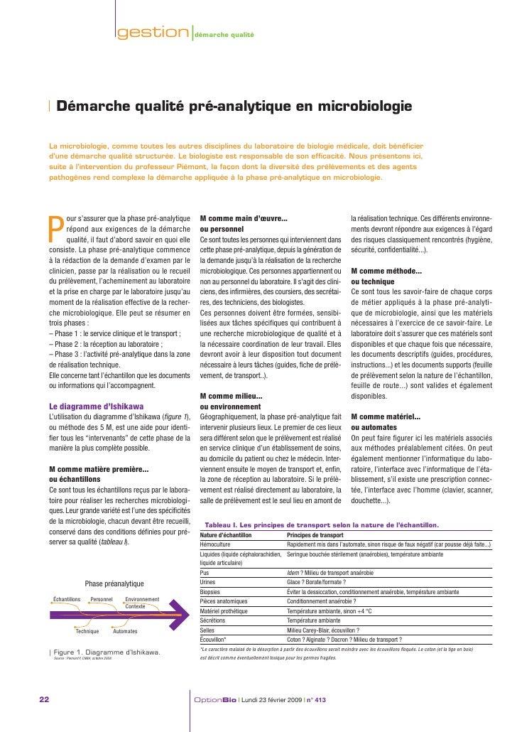 gestion |démarche qualité          Démarche qualité pré-analytique en microbiologie   La microbiologie, comme toutes les a...