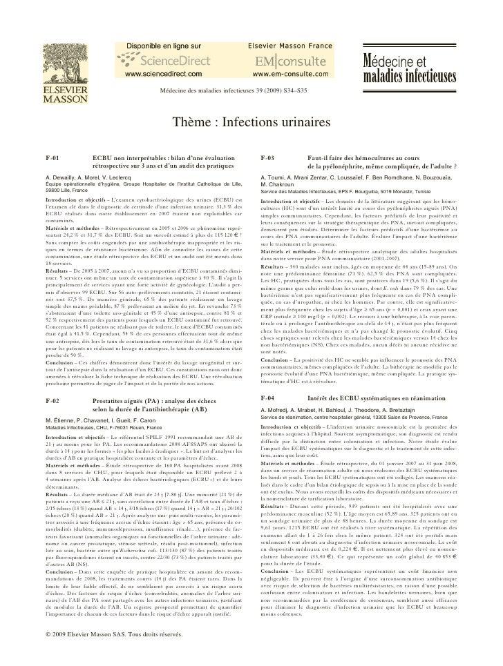 Médecine des maladies infectieuses 39 (2009) S34–S35                                                             Thème : I...