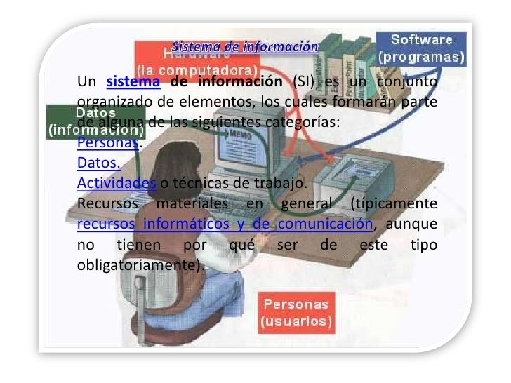 Un sistema de información (SI) es un conjunto organizado de elementos, los cuales formarán parte de alguna de las siguient...