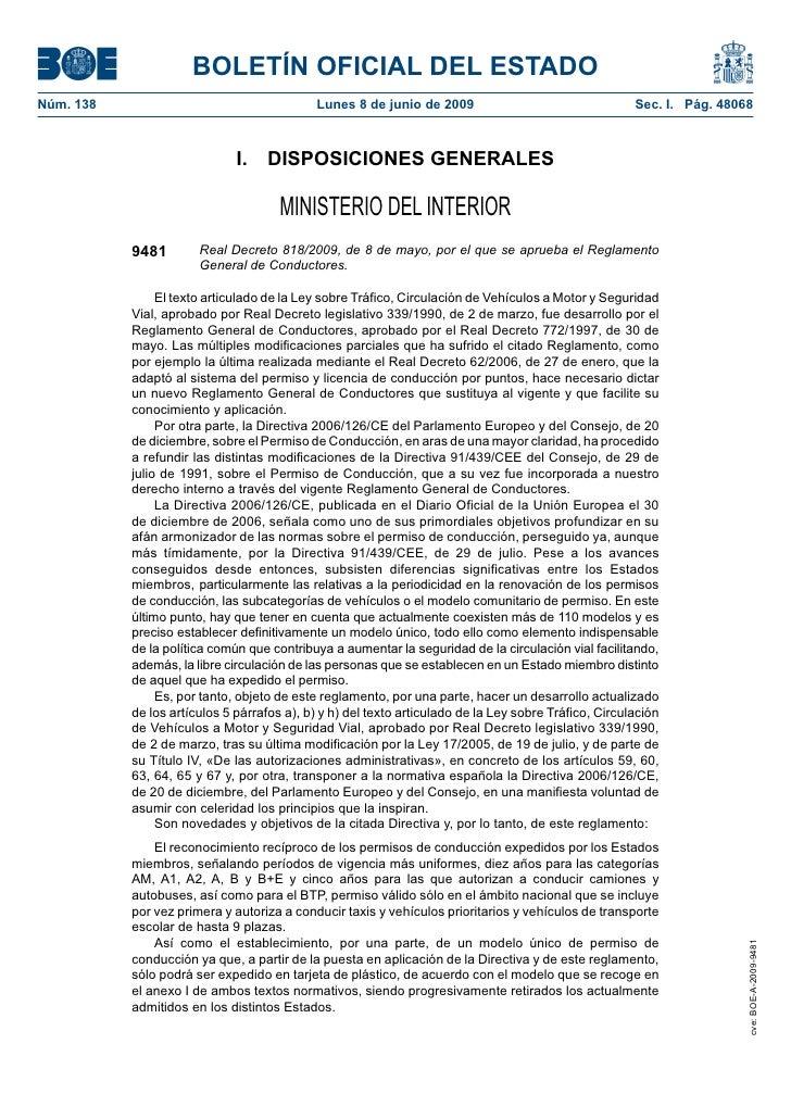 BOLETÍN OFICIAL DEL ESTADO Núm. 138                                     Lunes 8 de junio de 2009                          ...