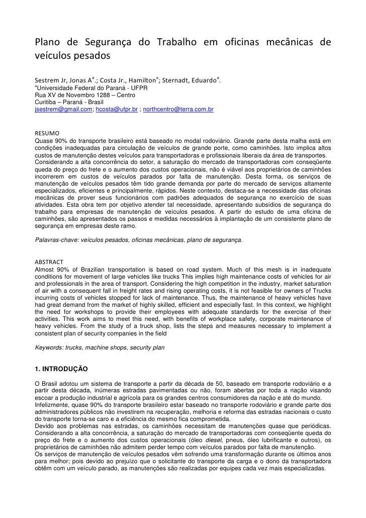 Plano de Segurança do Trabalho em oficinas mecânicas de veículos pesados  Sestrem Jr, Jonas Aa.; Costa Jr., Hamiltona; Ste...