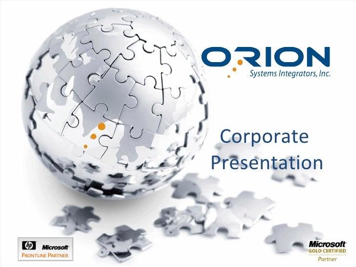 Orion Systems Integrators Presentation