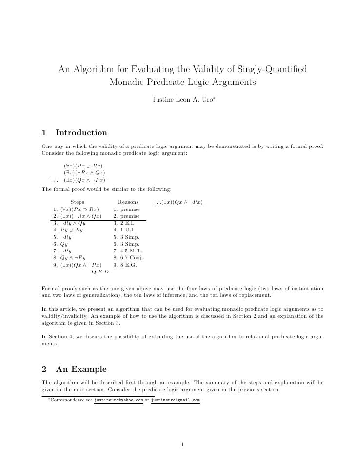 An Algorithm for Evaluating the Validity of Singly-Quantified                       Monadic Predicate Logic Arguments      ...