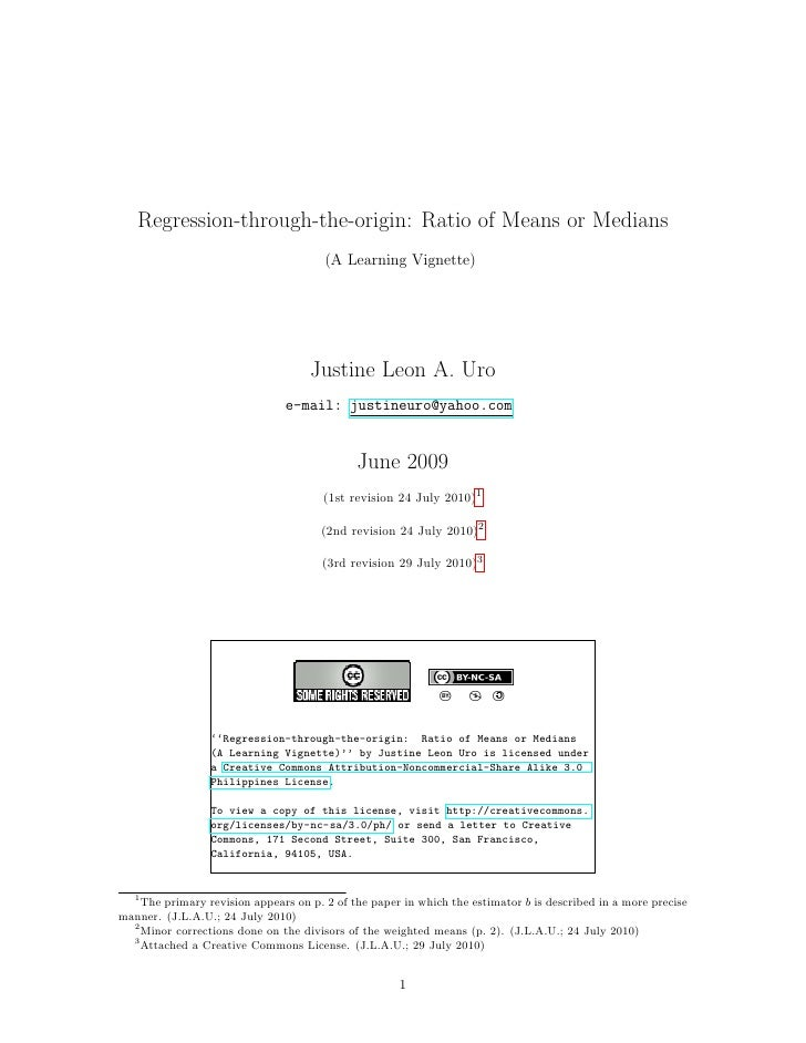 Regression-through-the-origin: Ratio of Means or Medians