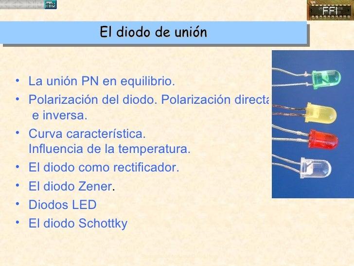El diodo de unión <ul><li>La unión PN en equilibrio. </li></ul><ul><li>Polarización del diodo. Polarización directa   e in...
