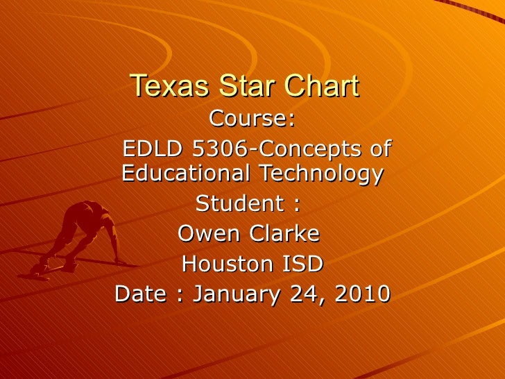 Texas Star Chart  Course: EDLD 5306-Concepts of Educational Technology Student :  Owen Clarke  Houston ISD Date : January ...