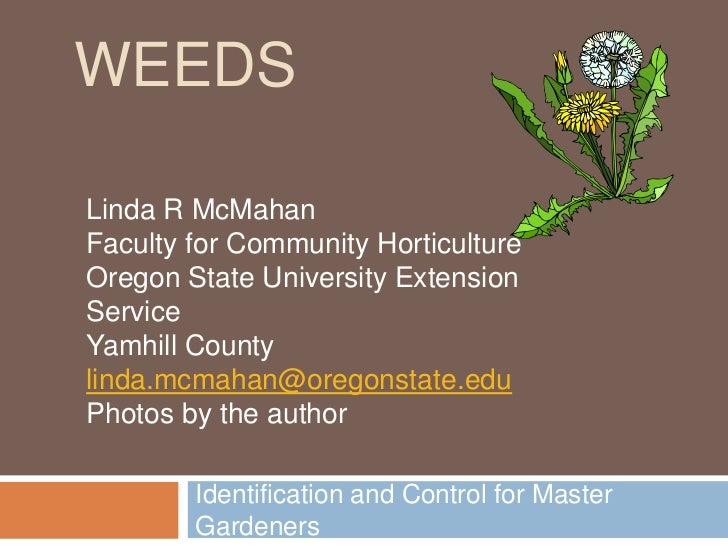 WEEDSLinda R McMahanFaculty for Community HorticultureOregon State University ExtensionServiceYamhill Countylinda.mcmahan@...