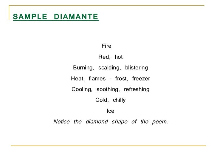 Diamond Shape of The Poem