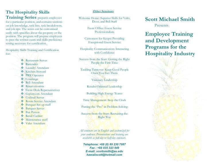 The Hospitality Skills                                         Other Seminars  Training Series prepares employees         ...