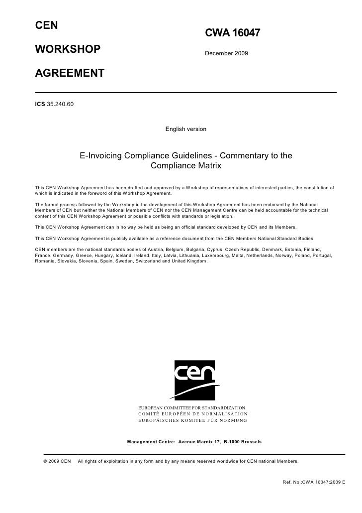 CWA 16047, E-Invoicing Compliance Guidelines - Commentary to the Compliance Matrix