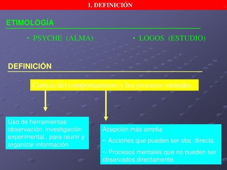 1. DEFINICIÓN.<br />ETIMOLOGÍA<br /><ul><li>  PSYCHE  (ALMA)