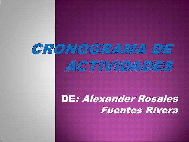 Cronograma de actividades<br />DE: Alexander Rosales Fuentes Rivera<br />