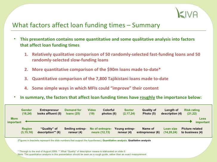 <ul><li>This presentation contains some quantitative and some qualitative analysis into factors that affect loan funding t...