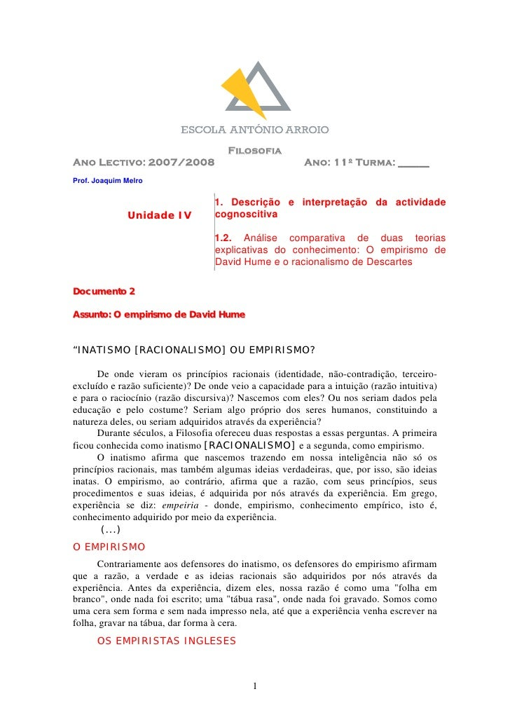 Filosofia Ano Lectivo: 2007/2008                                  Ano: 11º Turma: ______ Prof. Joaquim Melro              ...