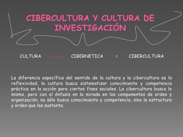 CIBERCULTURA Y CULTURA DE INVESTIGACIÓN<br />CULTURA                      CIBERNETICA         =        CIBERCULTURA<br />L...