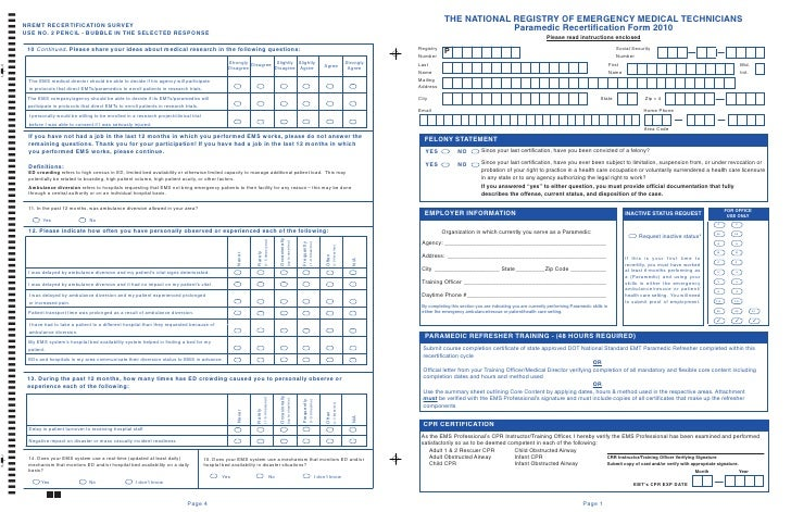 THE NATIONAL REGISTRY OF EMERGENCY MEDICAL TECHNICIANS                          Paramedic Recertification Form 2010       ...