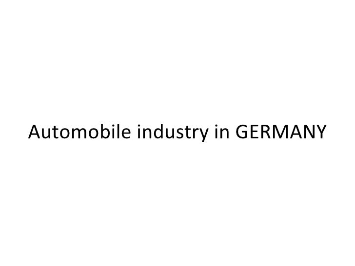 Automobile industry in GERMANY