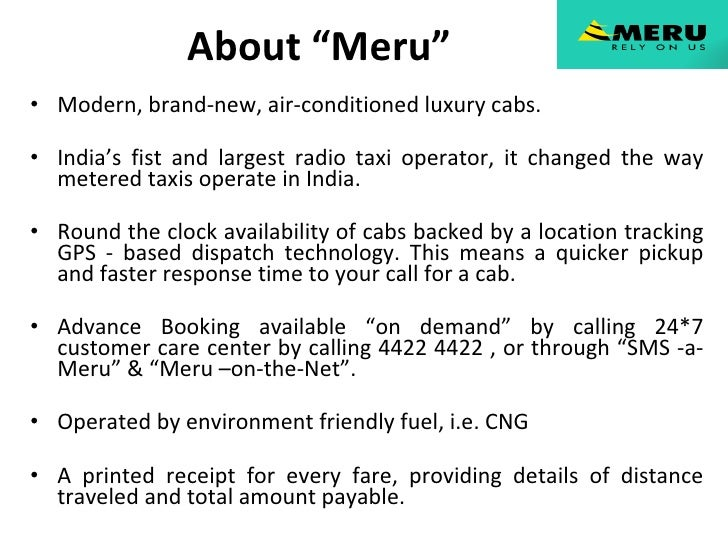 service marketing by meru cabs Here's the marketing mix of taxi for sure - a service provider associated with technology and logistics industry as it deals with transport facilitiesola cabs.