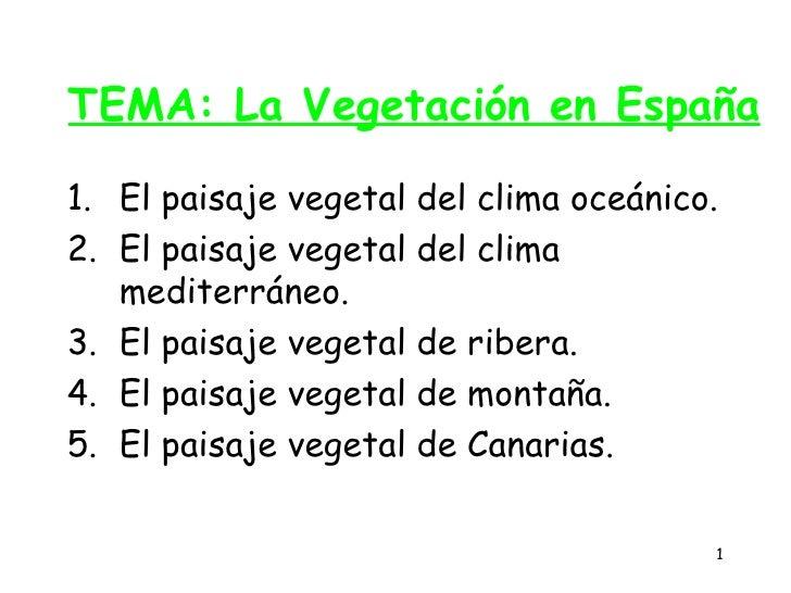 TEMA: La Vegetación en España  1. El paisaje vegetal del clima oceánico. 2. El paisaje vegetal del clima    mediterráneo. ...
