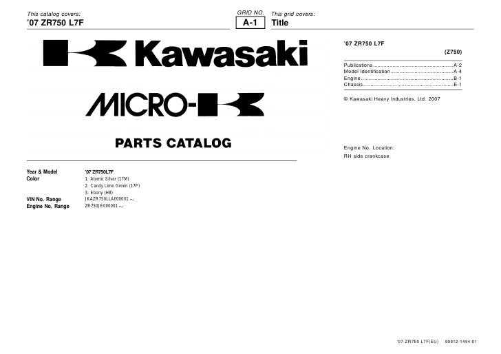 This catalog covers:                               GRID NO.   This grid covers: '07 ZR750 L7F                             ...