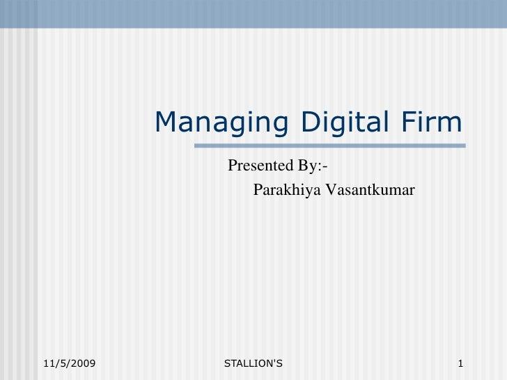 Managing Digital Firm