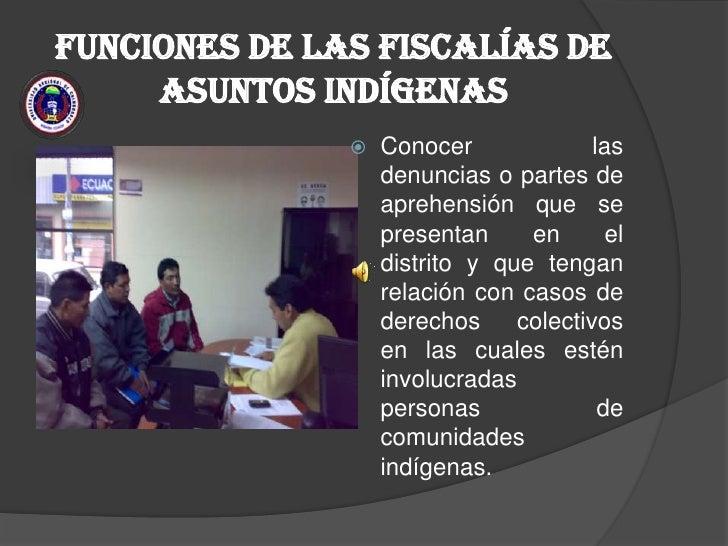 FUNCIONES DE LAS FISCALÍAS DE ASUNTOS INDÍGENAS <br />Conocer las denuncias o partes de aprehensión que se presentan en el...
