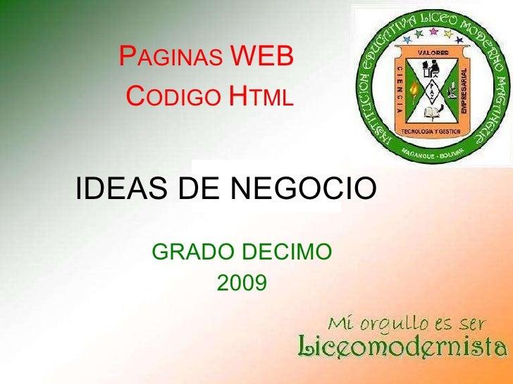 IDEAS DE NEGOCIO GRADO 10 AÑO 2009